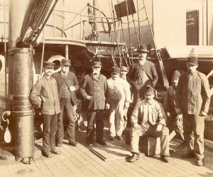 Lightship crew in front of the ship